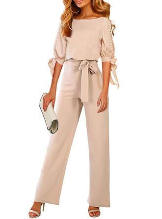 Einfarbig Rundhalsausschnitt 1/2 Ärmel Lässige Kleidung Elegant Overall