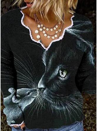 Print Animal V-Neck Long Sleeves T-shirts