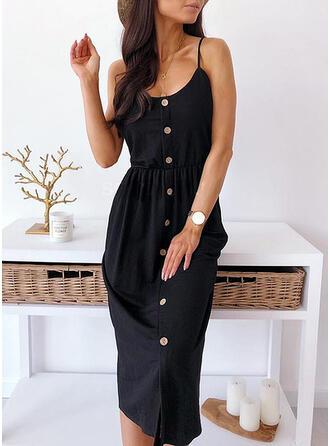 Solid Sleeveless Sheath Slip Little Black/Casual Midi Dresses