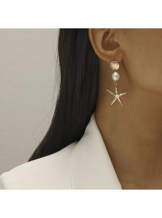 Hübsche Stern Legierung mit Faux-Perlen Frauen Ohrringe 2 STÜCK