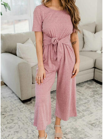 Solid Short Sleeves Casual Jumpsuit