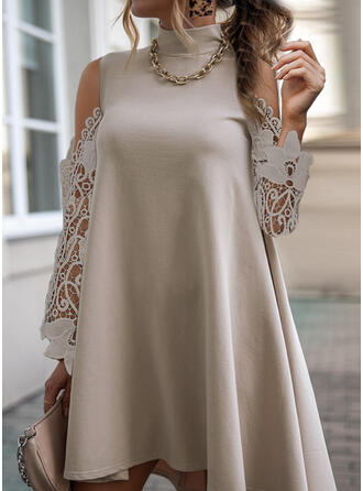 Lace/Solid Long Sleeves Shift Above Knee Casual Tunic Dresses