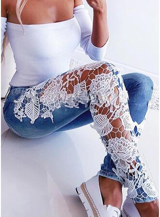 Jacquard Lace Print Skinny Jacquard Lace Denim Denim & Jeans