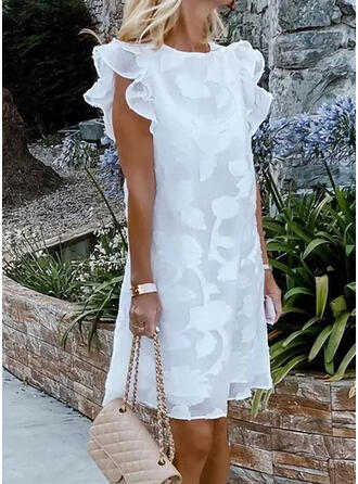 Lace/Solid Cap Sleeve Shift Above Knee Casual/Vacation Tunic Dresses