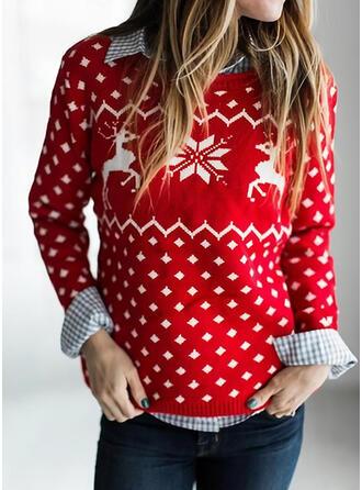 Frauen Polyester Drucken Rentier Hässlicher Weihnachtsstrickjacke