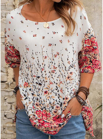 Floral Print Round Neck 1/2 Sleeves T-shirts