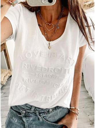 Figure Solid V-Neck Short Sleeves T-shirts