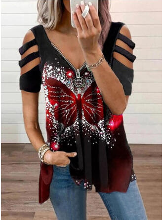Print Butterfly Cold Shoulder Short Sleeves T-shirts