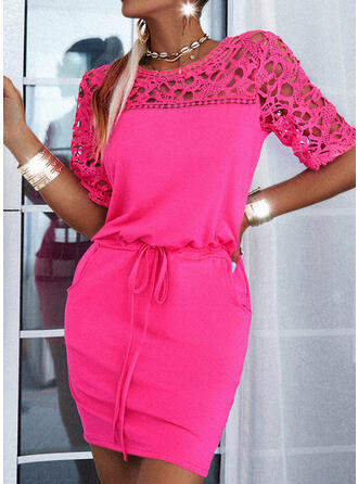 Lace/Solid 1/2 Sleeves Bodycon Above Knee Casual Dresses