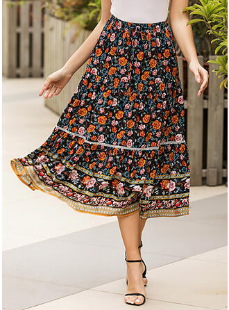 Cotton Floral Maxi A-Line Skirts