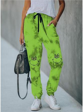 Print Tie Dye Drawstring Christmas Casual Sporty Pants