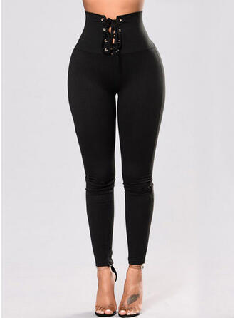 Solid Long Casual Lace Up Pants