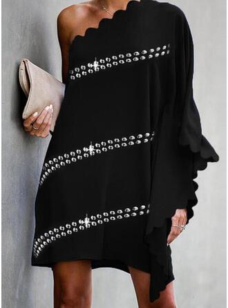 Sequins/Solid Long Sleeves/Batwing Sleeves Shift Above Knee Little Black/Party/Elegant Dresses