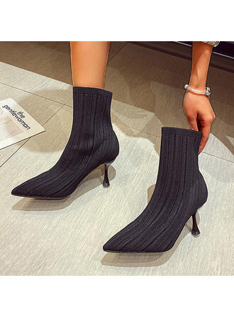 Women's Flying Weave Stiletto Heel Ankle Boots Pointed Toe With Solid Color shoes