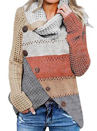 Geblockte Farben Wasserfallausschnitt Freizeit Pullover