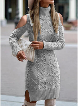 Solid Cable-knit Turtleneck Cold Shoulder Casual Sweater Dress