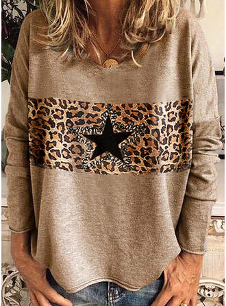 Leopard Print Star V-Neck Long Sleeves T-shirts