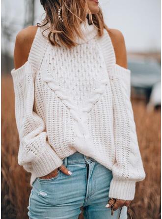 Einfarbig Zopfmuster Kalte Schulter Freizeit Pullover