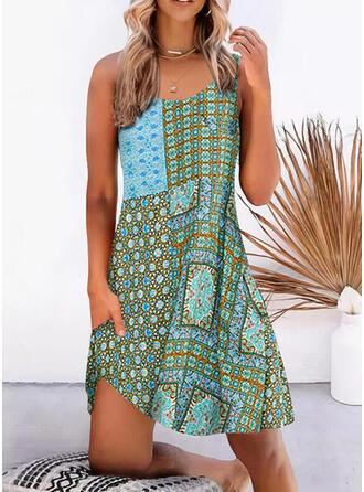Print Sleeveless Shift Knee Length Casual/Boho Dresses
