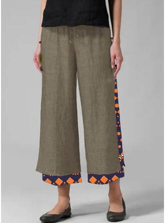 Patchwork Plus Size Casual Print Lounge Pants