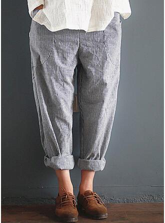 gestreift Taschen Übergröße Lässige Kleidung Elegant Lounge Pants