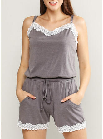 V-Neck Sleeveless Solid Color Sexy Casual Lounge Rompers