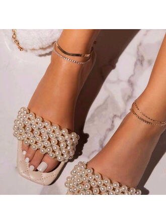 Women's PU Flat Heel Sandals Slippers Square Toe With Pearl Crisscross shoes
