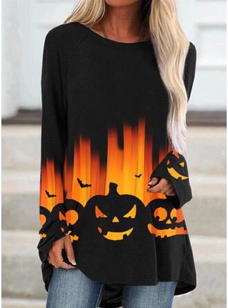 Halloween Print Animal Round Neck Long Sleeves Sleeveless Sweatshirt
