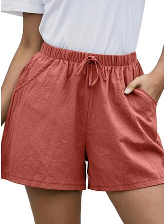 Taschen Shirred Über dem Knie Lässige Kleidung Dünn Sportlich Kurze Hose