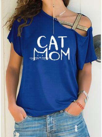 Print Letter Animal One Shoulder Short Sleeves T-shirts