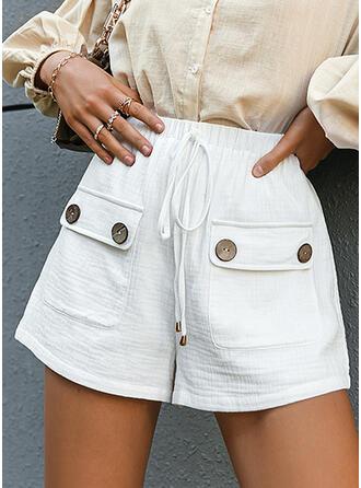 Pockets Drawstring Casual Solid Shorts