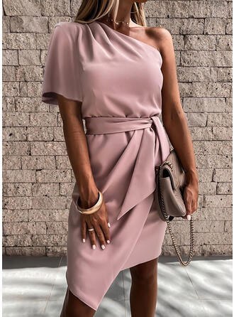 Solid Short Sleeves Sheath Asymmetrical Party/Elegant Dresses