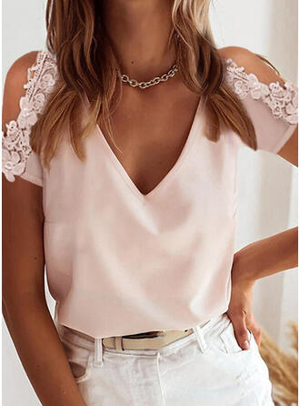 Solid Lace Cold Shoulder Short Sleeves Elegant Blouses