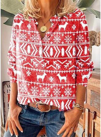 Animal-Print V-Ausschnitt Lange Ärmel Mit Knöpfen Weihnachten Blusen