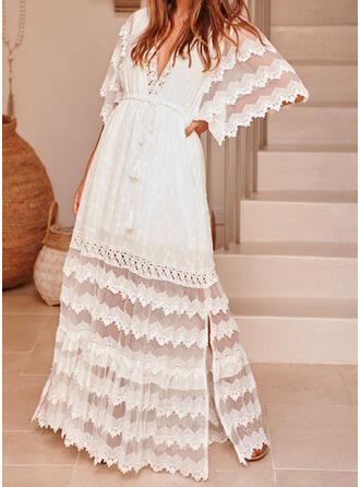 Lace/Solid 1/2 Sleeves/Flare Sleeves A-line Skater Casual Maxi Dresses