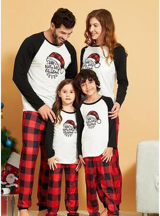 Karierte Schreiben Drucken Passende Familie Pyjama