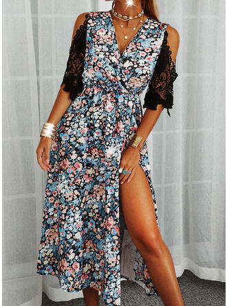 Lace/Print/Floral 3/4 Sleeves A-line Skater Casual Midi Dresses
