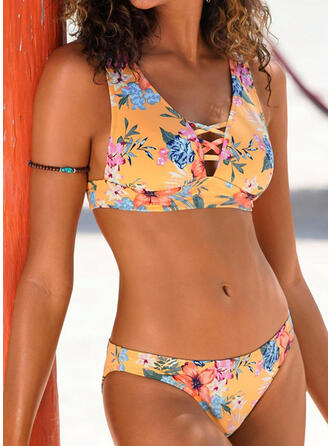 Print V-Neck Sexy Fresh Casual Amazing Tankinis Swimsuits