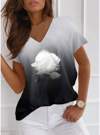 Floral Gradient Print V-Neck Short Sleeves T-shirts