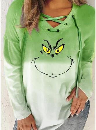 Print Gradient V-Neck Long Sleeves Christmas Sweatshirt