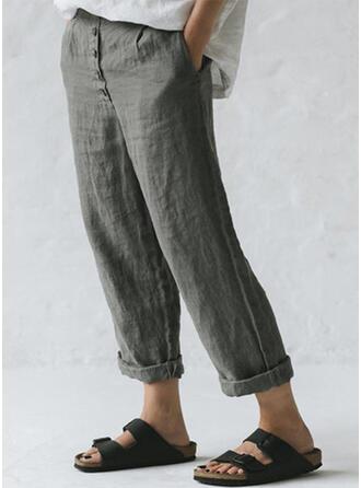 Taschen Shirred Übergröße Lange Lässige Kleidung Einfach Hosen