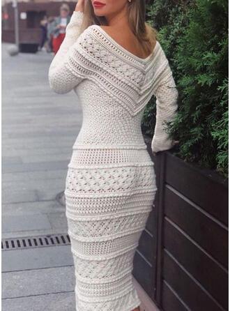 Einfarbig Lange Ärmel Figurbetont Pullover Elegant Midi Kleider