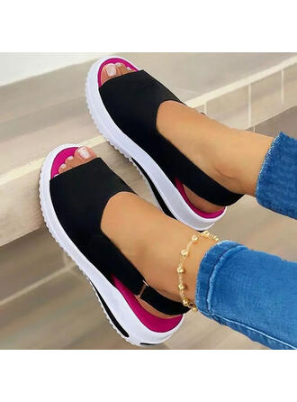 Women's Suede Flat Heel Sandals Platform Slippers Round Toe With Elastic Band shoes