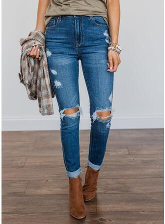 Solid Denim Long Vintage Plus Size Pocket Ripped Button Denim & Jeans