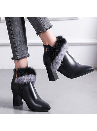 Women's Leatherette Chunky Heel Ankle Boots Pointed Toe With Zipper Faux-Fur shoes