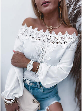 Solid Lace Lace-up Off the Shoulder Long Sleeves Elegant Blouses