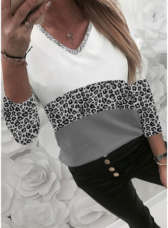 Color Block Leopard Sequins V-Neck Long Sleeves T-shirts
