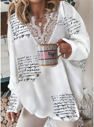 Print Letter Lace V-Neck Long Sleeves Casual Blouses