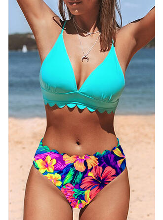 Strap V-Neck Plus Size Casual Boho Bikinis Swimsuits