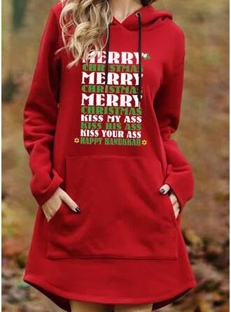 Druck Lange Ärmel Shift Über dem Knie Weihnachten/Freizeit Sweatshirt Kleider